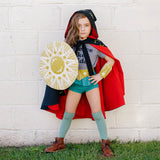 Gold amazon warrior set, save the day kit, with shield cuffs and belt, for dress up, playwear by lovelane