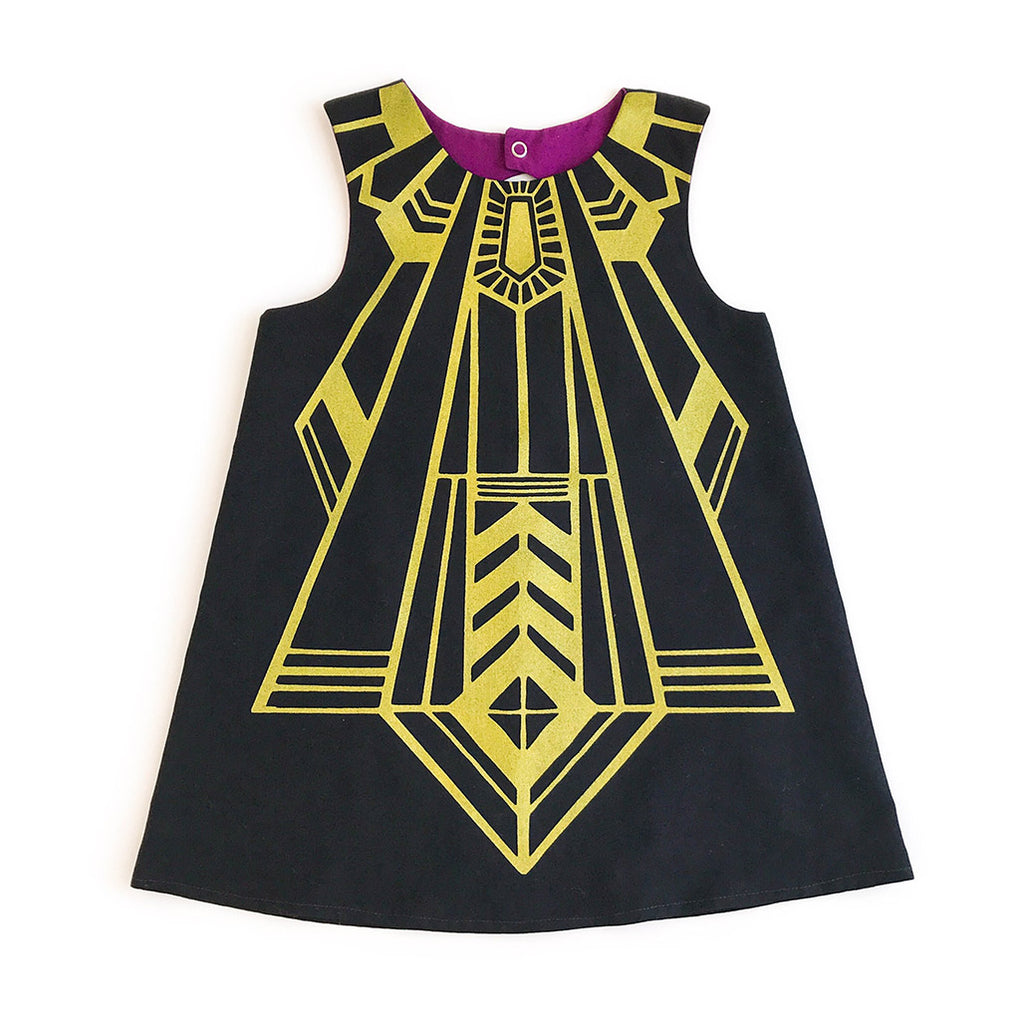 Flapper Party Dress In Black Gold Art Deco Inspired Shift With Keyh Lovelane