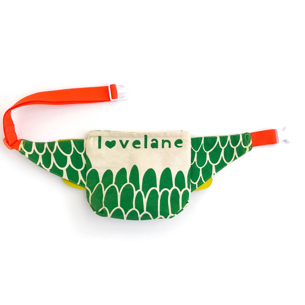 Dragon fanny pack, belt bag, in green and pickle, back view, for dress up, playwear by lovelane designs