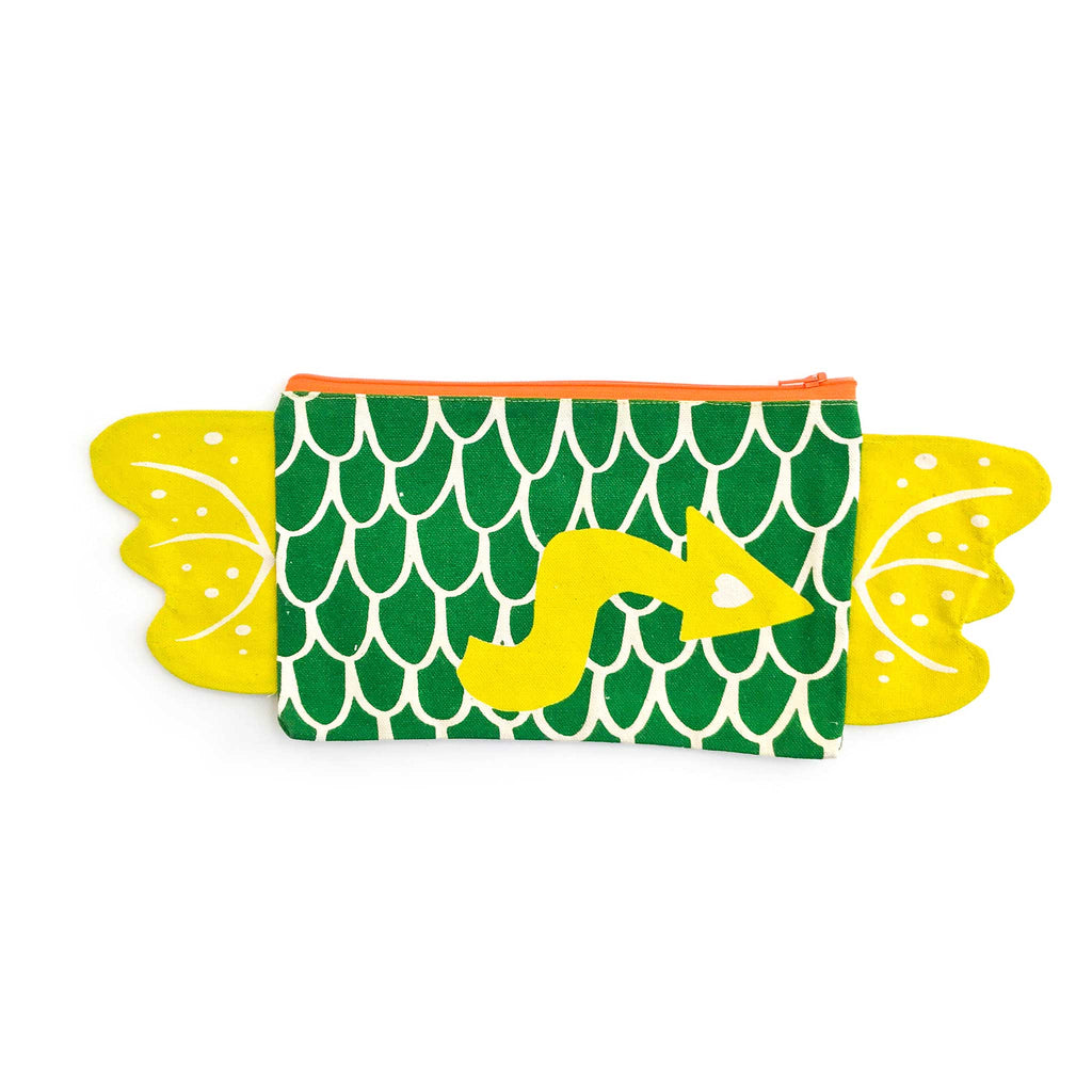 Dragon zipper pouch, pencil case back, in green and pickle, gift for kids, by lovelane designs