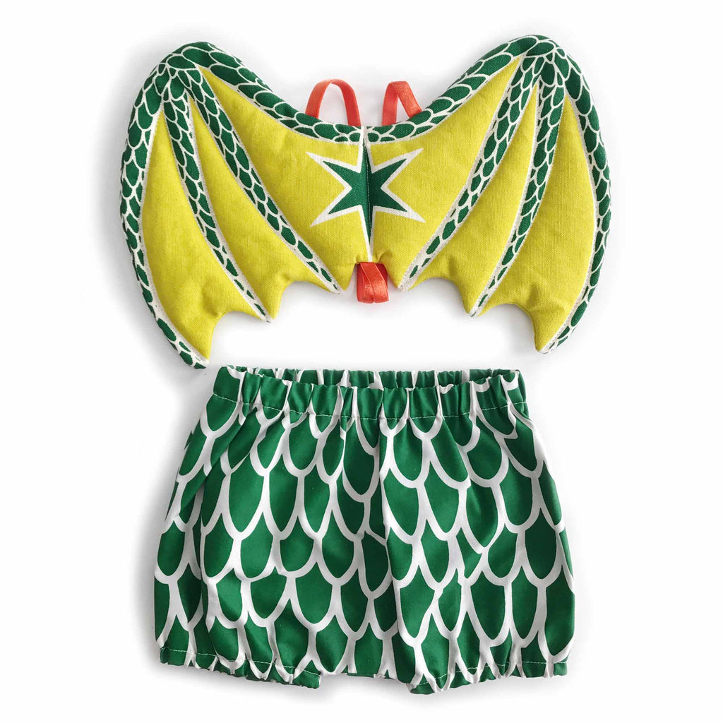 Green baby dragon wings and bloomers set for dress up, playwear by lovelane designs