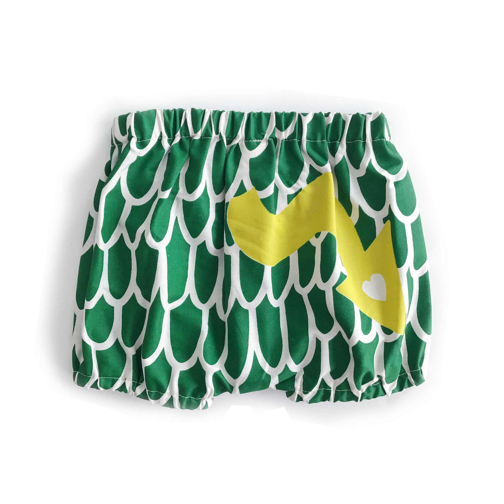 Green baby dragon bloomers, back view, for dress up, playwear by lovelane designs