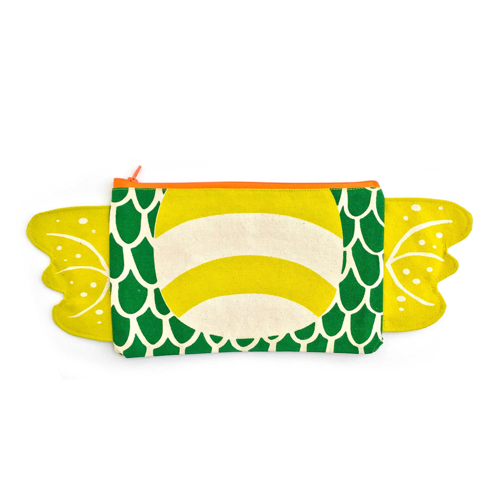 Dragon zipper pouch, pencil case front, in green and pickle, gift for kids, by lovelane designs
