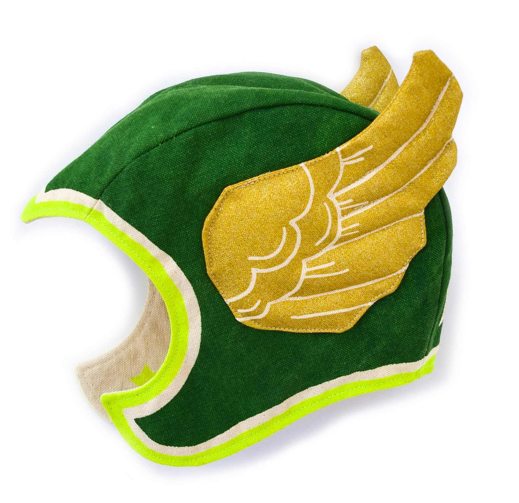 Green flying super hero hat costume, stripes and stars, gold wings, for dress up, playwear by lovelane designs