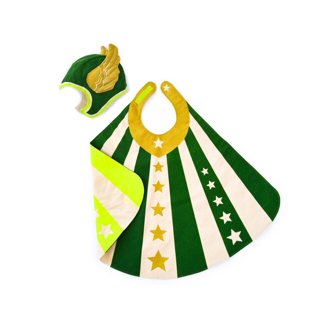 Green flying super hero cape costume set with hat, stripes and stars, gold wings, for dress up, playwear by lovelane designs