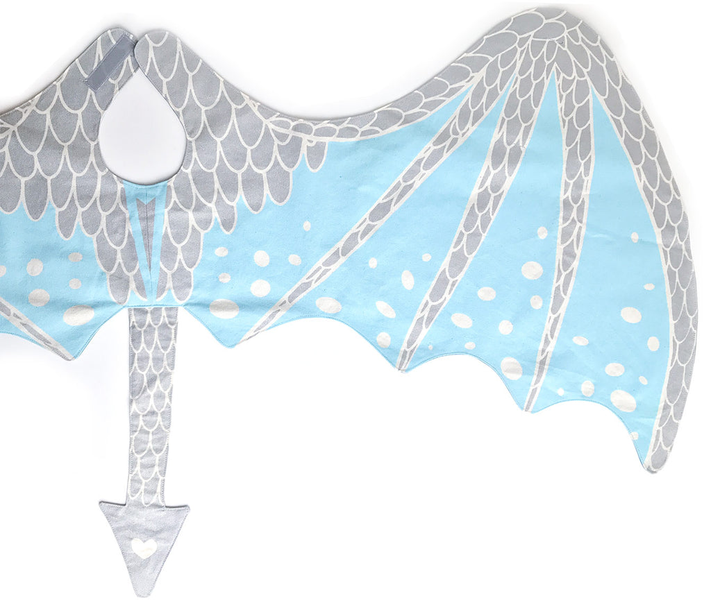 Ice dragon wings costume set in silver and blue, for fairytale dress up, playwear by lovelane designs