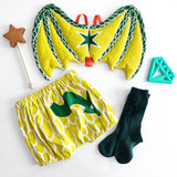 Green baby dragon wings and lime green bloomers set for dress up, playwear by lovelane designs