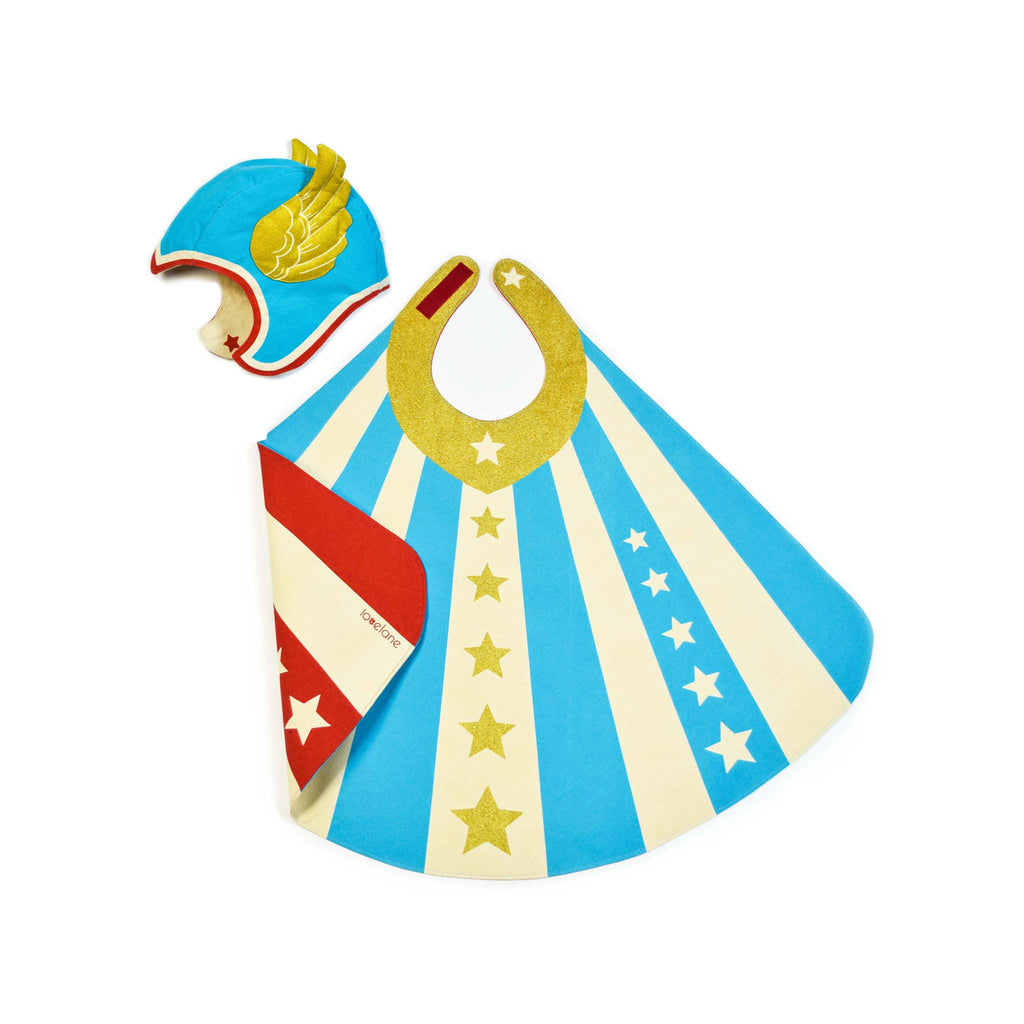 Blue Hero Costume for Children hat Cape Lovelane designs