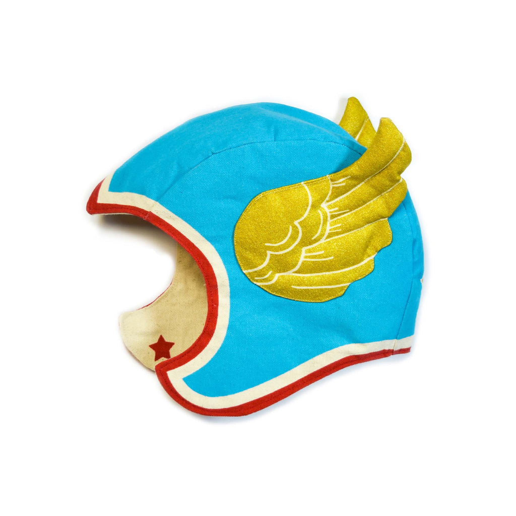 Blue Superhero Hat wings child lovelane designs