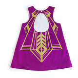 Girls flapper dress keyhole back in plum and gold for dress up, playwear by lovelane design