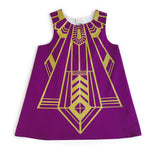Girls flapper dress in plum and gold for dress up, playwear by lovelane design