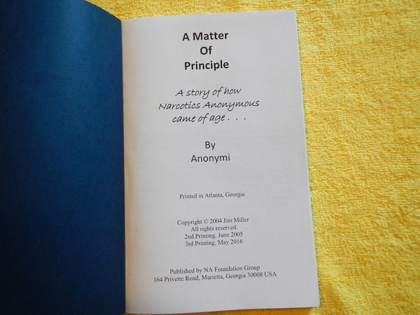 """A Matter of Principle"" by Anonymi Soft Cover"