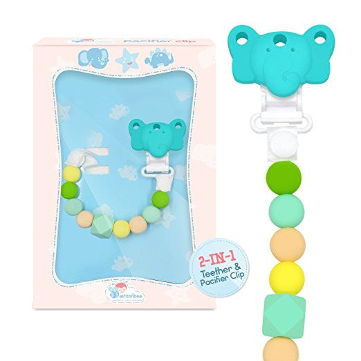 2 in 1 Elephant Silicone Teething Beads and Pacifier Clip for Girls and Boys