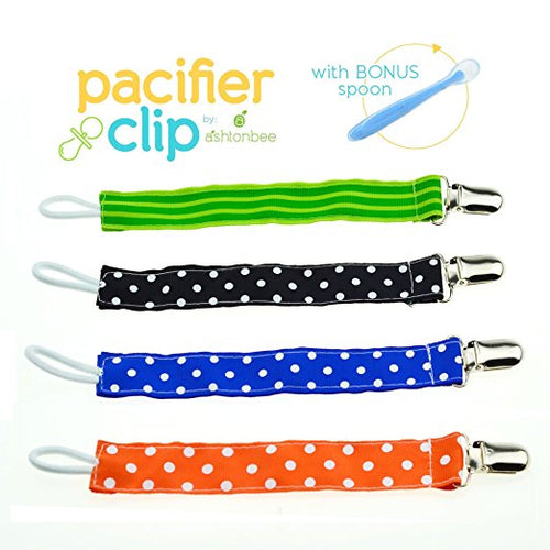 Pacifier Clip With Blue Spoon by Little Lamby (4 Pack), Damage Free Leash Type For Easy Use, Washable Non-Toxic, Strong Clasp, Universal Fit, Keep Your Child Safe Today!