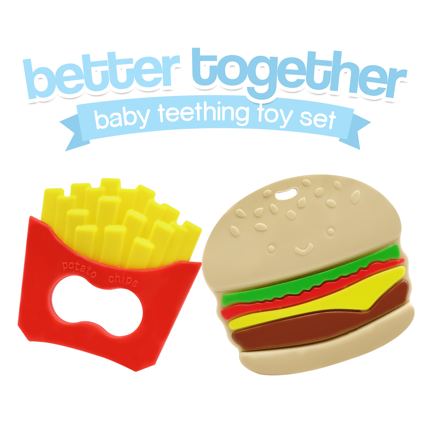 Better To her Burger and Fries Baby Teether Toy Set Say Bye