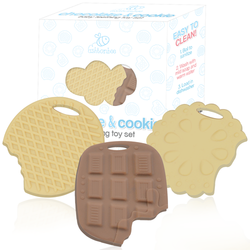 3-Pack Chocolate & Cookie Teether Toy Set