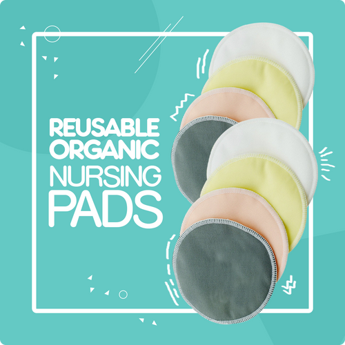 Nursing Pads For Breastfeeding With Green Pacifier Clip (4 Pair)