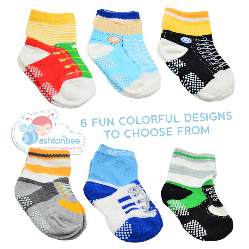 Nonslip Toddler Socks with Grip for Boys & Girls from 1 to 4 Years Old (Get 6 Pairs of Baby Socks)