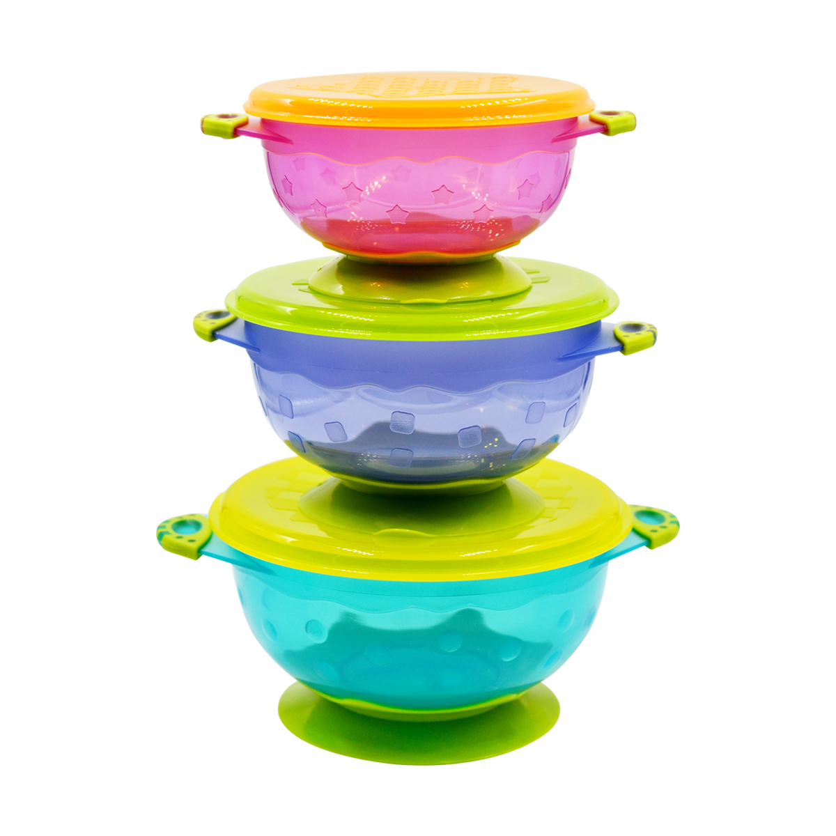 Stackable Stay-Put Suction Bowl Feeding Set with Spill-Proof Lid