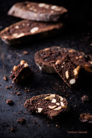 Triple Chocolate Biscotti with Hazelnuts