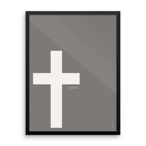 Framed cross poster (Kozira grey)-Kozira-18×24-Kozira