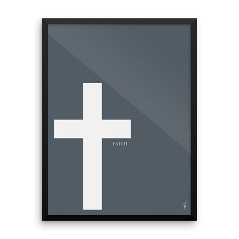 Framed cross poster (Kozira deep blue)-Kozira-18×24-Kozira
