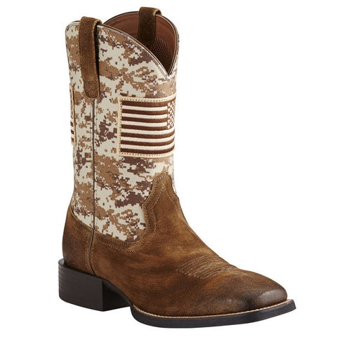 ARIAT MEN'S SPORT PATRIOT ANTIQUE MOCHA SUEDE WESTERN BOOT #10019959