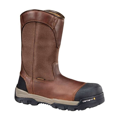 "CARHARTT MEN'S GROUND FORCE 10"" BROWN COMPOSITE TOE WELLINGTON WORK BOOT #CME1355"