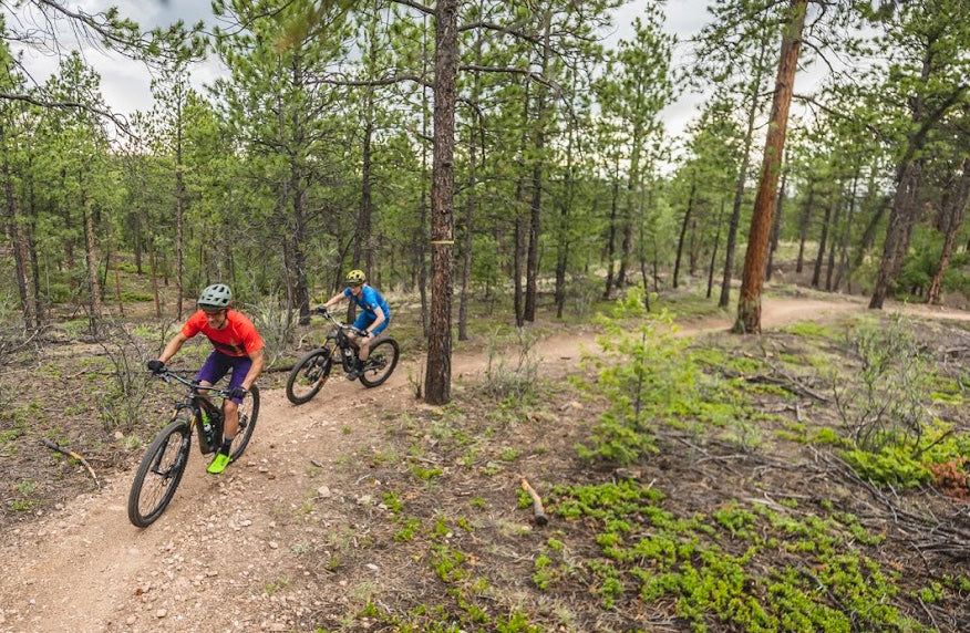 Male a female mountain bikers riding singletrack through the trees