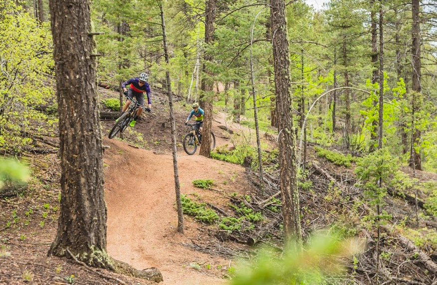 Male and female cyclists ridding a trail through the trees