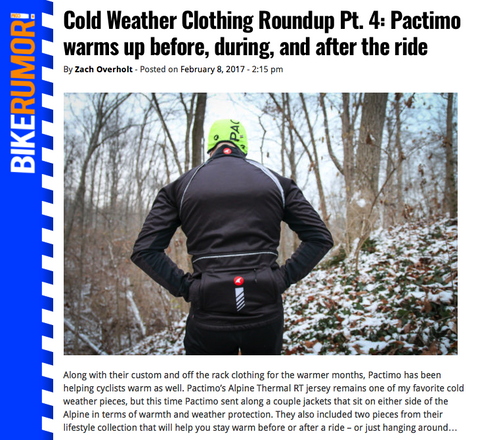 Pactimo Cold Weather Review on Bike Rumor