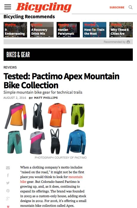 Bicycling Pactimo MTB product review