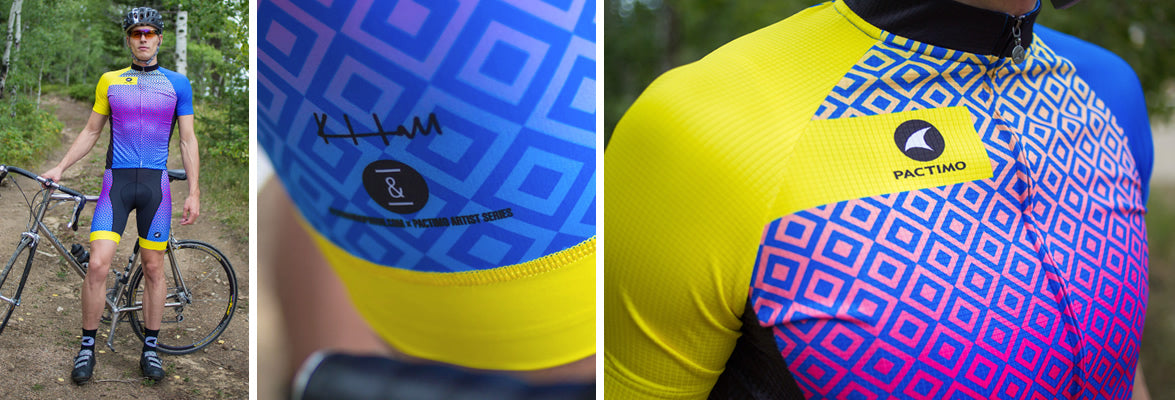 Artist designed cycling jerseys and shorts