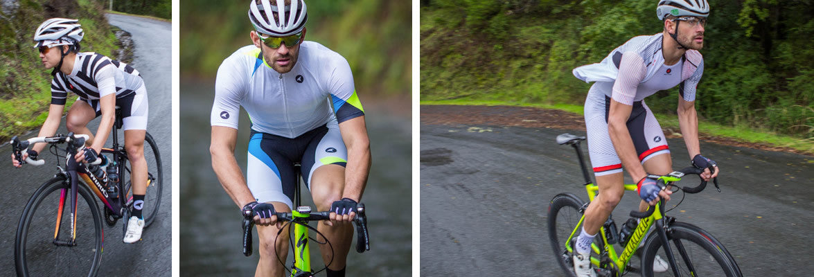 White cycling clothing for men and women