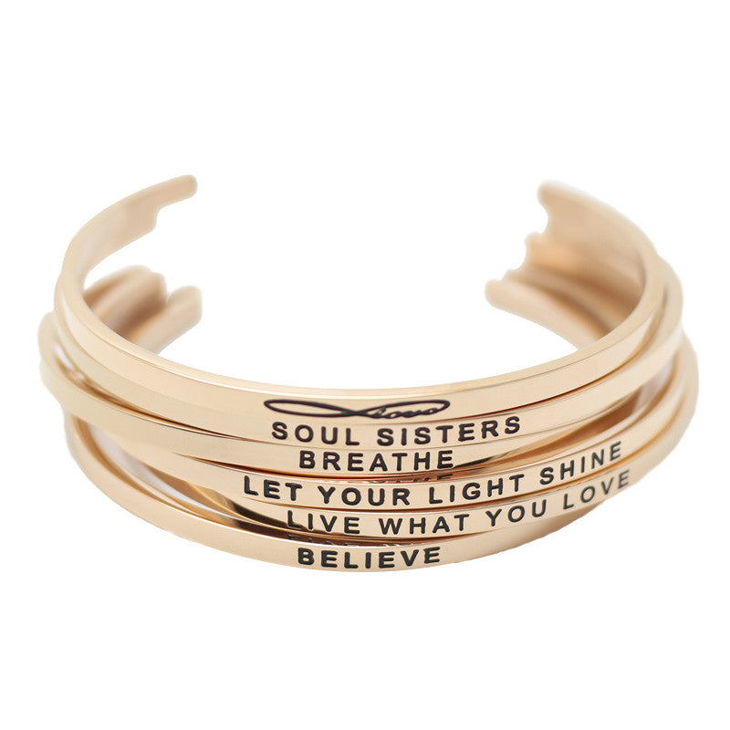 Stainless Steel Rose Gold Hand Stamped Bangles - WorthyEssentials