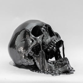 Melting Black Chrome Skull