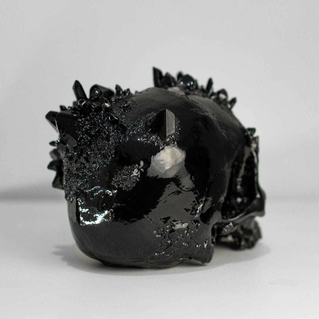 Obsidian Dragon Glass Skull