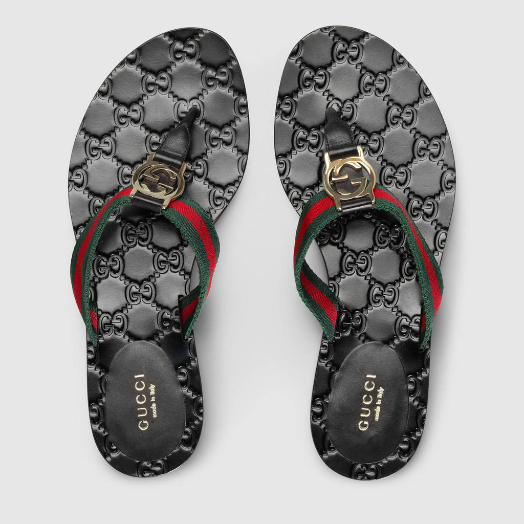 GUCCI GG THONG WEB SANDALS SANDALS | LuxurySnob genuine Gucci second hand, second hand Gucci handbags, pre owned Gucci shoes