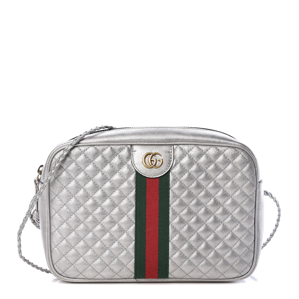 GUCCI METALLIC QUILTED LEATHER SHOULDER BAG - LuxurySnob
