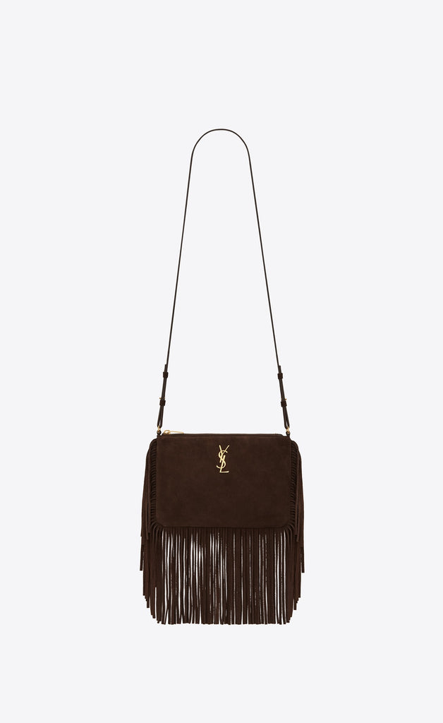 SAINT LAURENT FRINGED CROSSBODY BAG IN BROWN SUEDE CROSSBODY BAGS | LuxurySnob: pre owned luxury handbags, authentic designer goods second hand, second hand luxury bags, gently used designer shoes