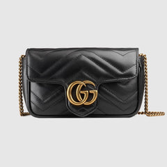 GUCCI GG MARMONT LEATHER SUPER MINI BAG ACCESSORIES | LuxurySnob: pre owned luxury handbags, authentic designer goods second hand, second hand luxury bags, gently used designer shoes
