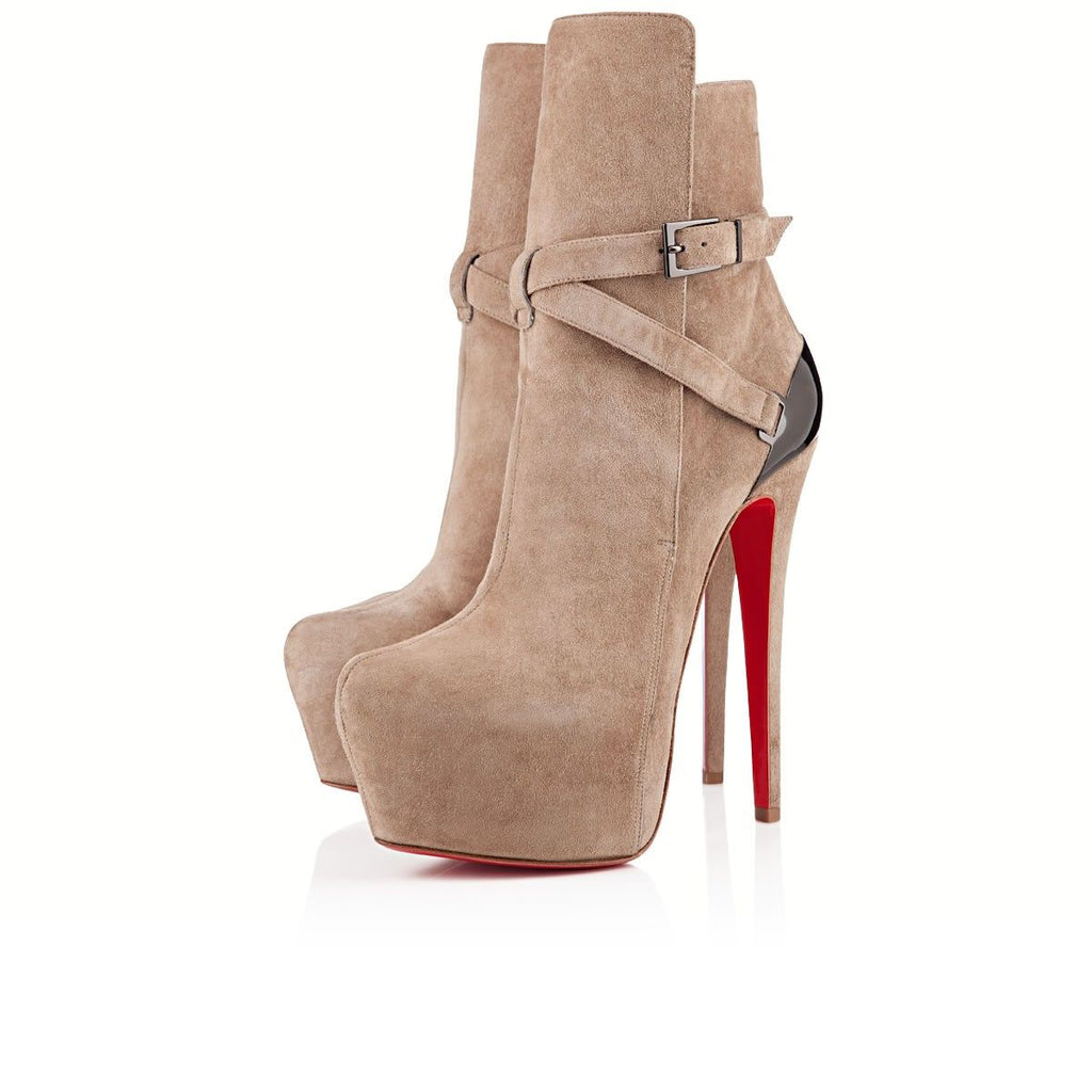 CHRISTIAN LOUBOUTIN 160MM EQUESTRIA SUEDE STRAP BOOTS SIZE 37 BOOTIES | LuxurySnob authentic Louboutin shoes second hand, second hand Christian Louboutin, pre owned red bottom shoes