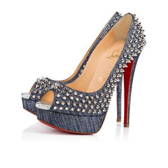 CHRISTIAN LOUBOUTIN LADY PEEP SPIKES 150 LAME SIZE 38.5
