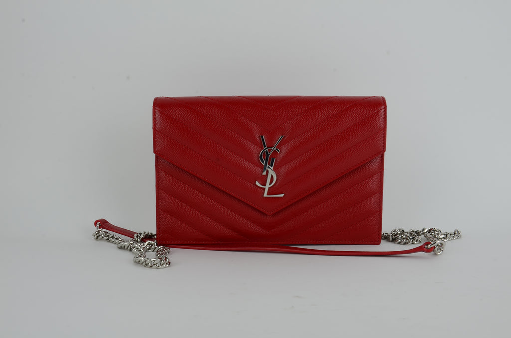 YSL Envelope Chain Wallet In Rouege Eros