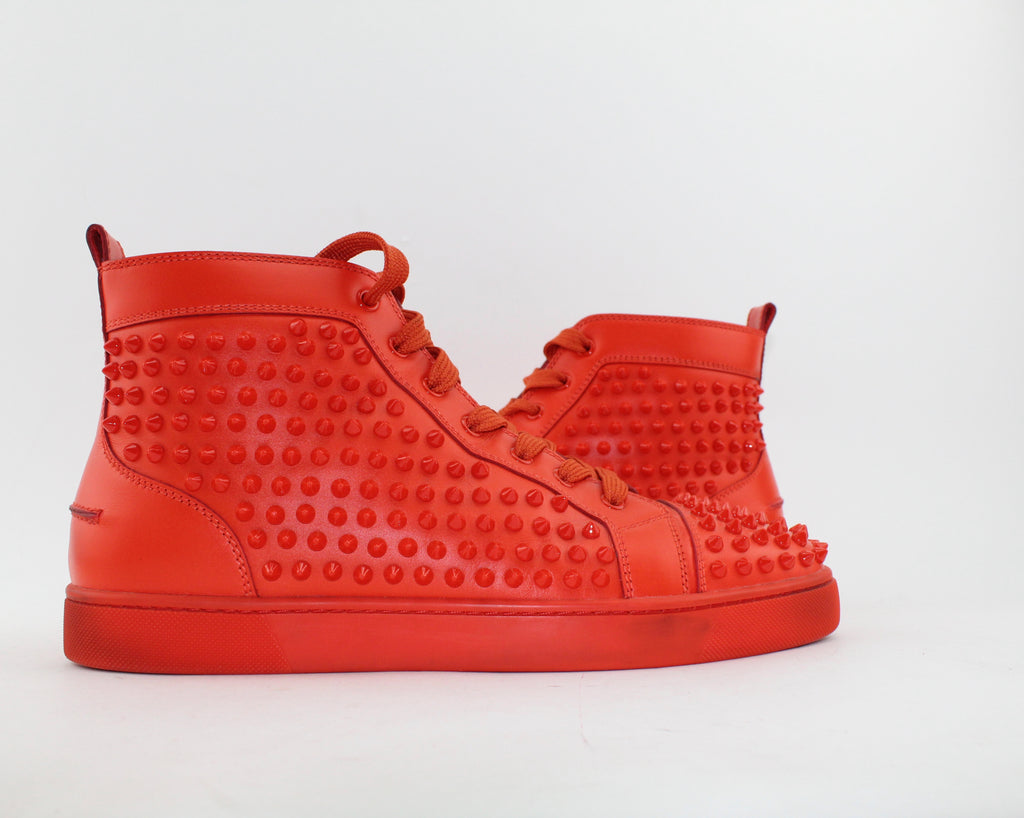 CHRISTIAN LOUBOUTIN LOUIS SPIKES HIGH TOP SNEAKER MEN SIZE 43 SNEAKERS | LuxurySnob authentic Louboutin shoes second hand, second hand Christian Louboutin, pre owned red bottom shoes