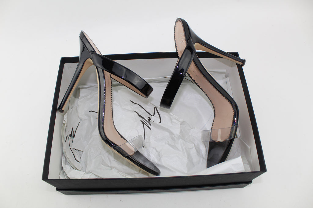 GIUSEPPE ZANOTTI ALI PATENT-LEATHER AND PERSPEX SANDALS SIZE 38.5 SANDALS | LuxurySnob: pre owned luxury handbags, authentic designer goods second hand, second hand luxury bags, gently used designer shoes