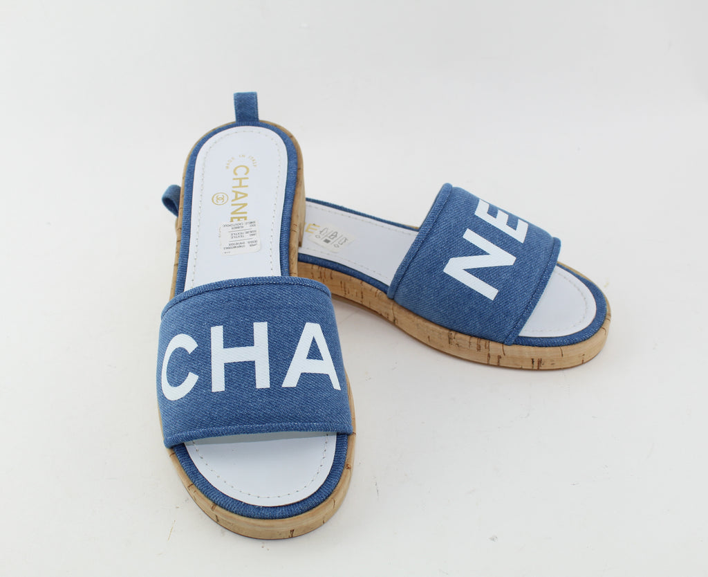 CHANEL DENIM SANDALS SIZE 41