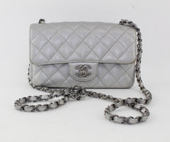 CHANEL MINI CAVIAR CLASSIC SILVER BAG - LuxurySnob
