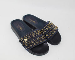 CHANEL CANVAS CHAIN FLAT SANDALS SIZE 39 - LuxurySnob