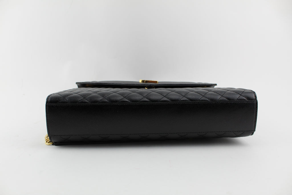 910fa3425d50 ... LARGE ENVELOPE CHAIN BAG IN BLACK GRAIN DE POUDRE TEXTURED MATELASSÉ  LEATHER